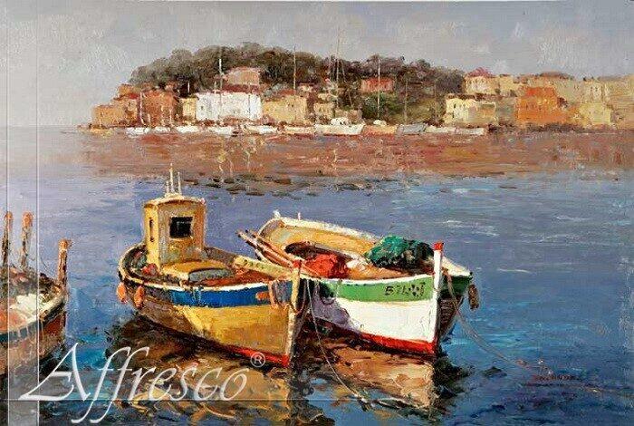 картина маслом старая лодка
